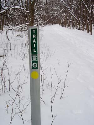 trail sign Dam No 4 Woods Dee Rd Higgins Rd. animalia project susan